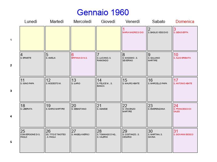 Calendario Gennaio.Calendario Gennaio 1960 Con Festivita E Fasi Lunari