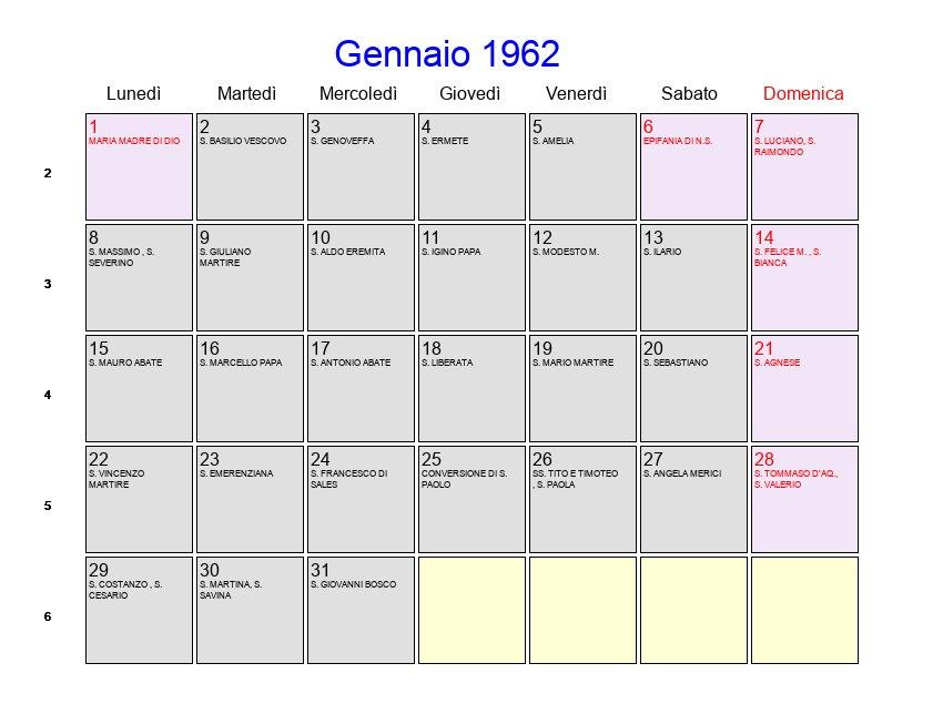 Calendario Gennaio.Calendario Gennaio 1962 Con Festivita E Fasi Lunari