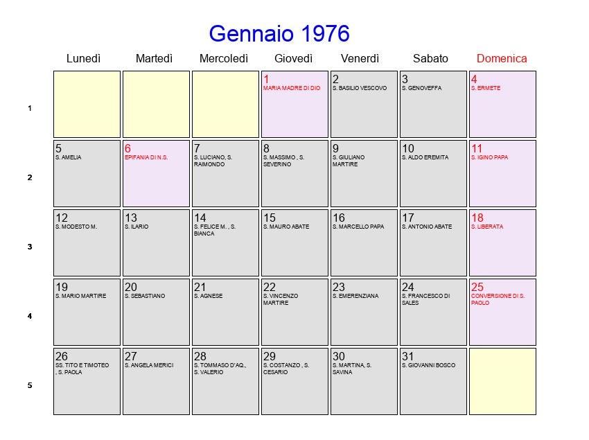 Calendario 1976.Calendario Gennaio 1976 Con Festivita E Fasi Lunari