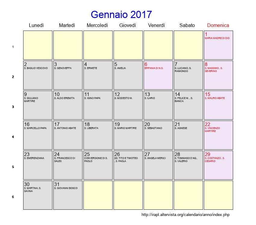 Calendario Gennaio.Calendario Gennaio 2017 Con Festivita E Fasi Lunari