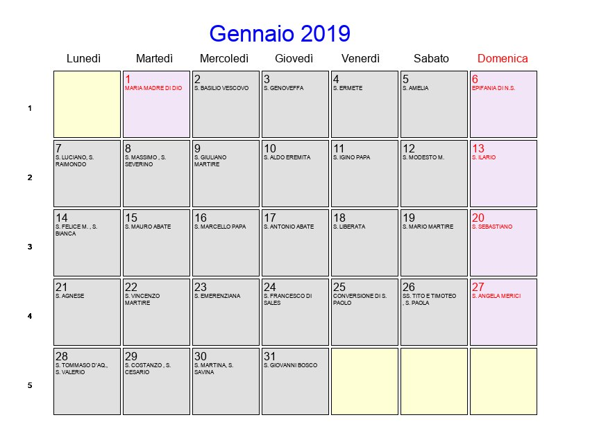 Calendario Gennaio 2019 Con Festività E Fasi Lunari