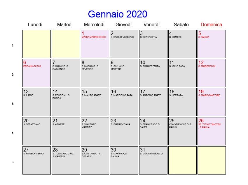 Calendario Gennaio 2020.Calendario Gennaio 2020 Con Festivita E Fasi Lunari