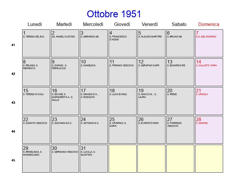 Calendario 1951.Calendario Ottobre 1951 Con Festivita E Fasi Lunari