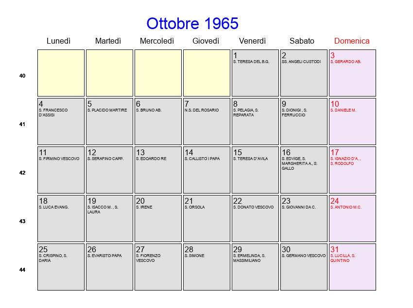 San Simone Calendario.Calendario Ottobre 1965 Con Festivita E Fasi Lunari