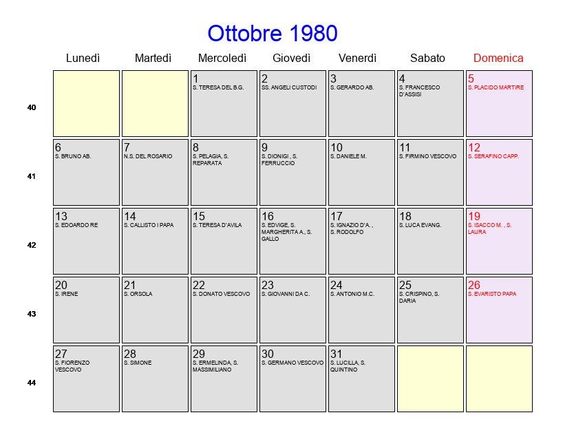 Calendario Anno 1980.Calendario Ottobre 1980 Con Festivita E Fasi Lunari