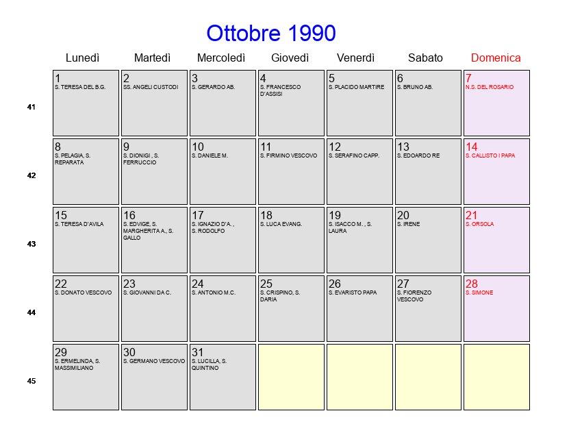 1990 Calendario.Calendario Ottobre 1990 Con Festivita E Fasi Lunari