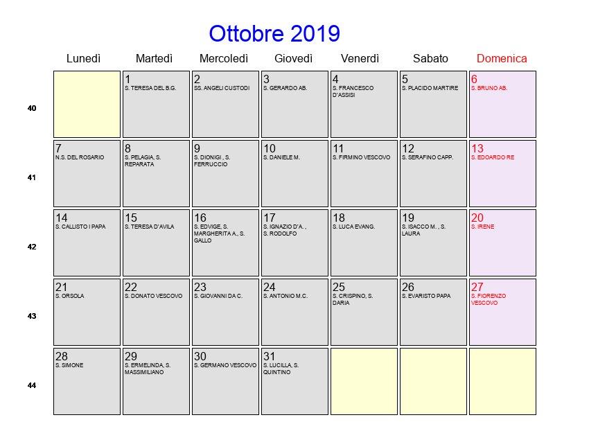 Calendario Lunare Ottobre 2020.Calendario Ottobre 2019 Con Festivita E Fasi Lunari