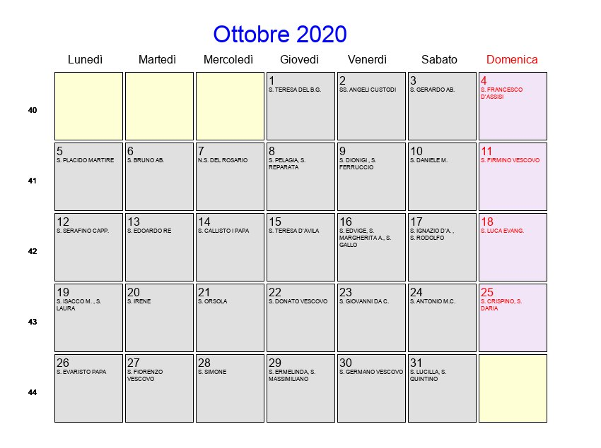 Calendario Lunare Ottobre 2020.Calendario Ottobre 2020 Con Festivita E Fasi Lunari