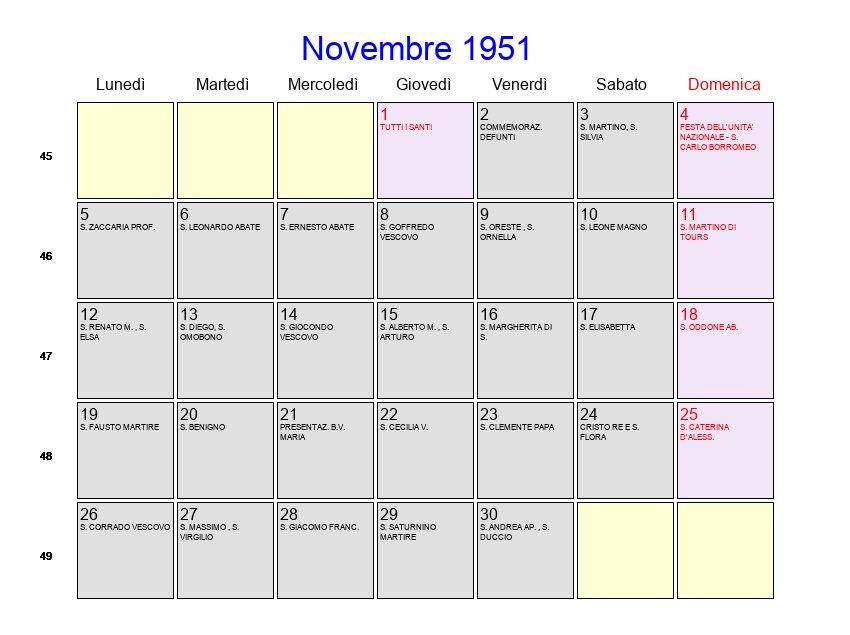 Calendario 1951.Calendario Novembre 1951 Con Festivita E Fasi Lunari