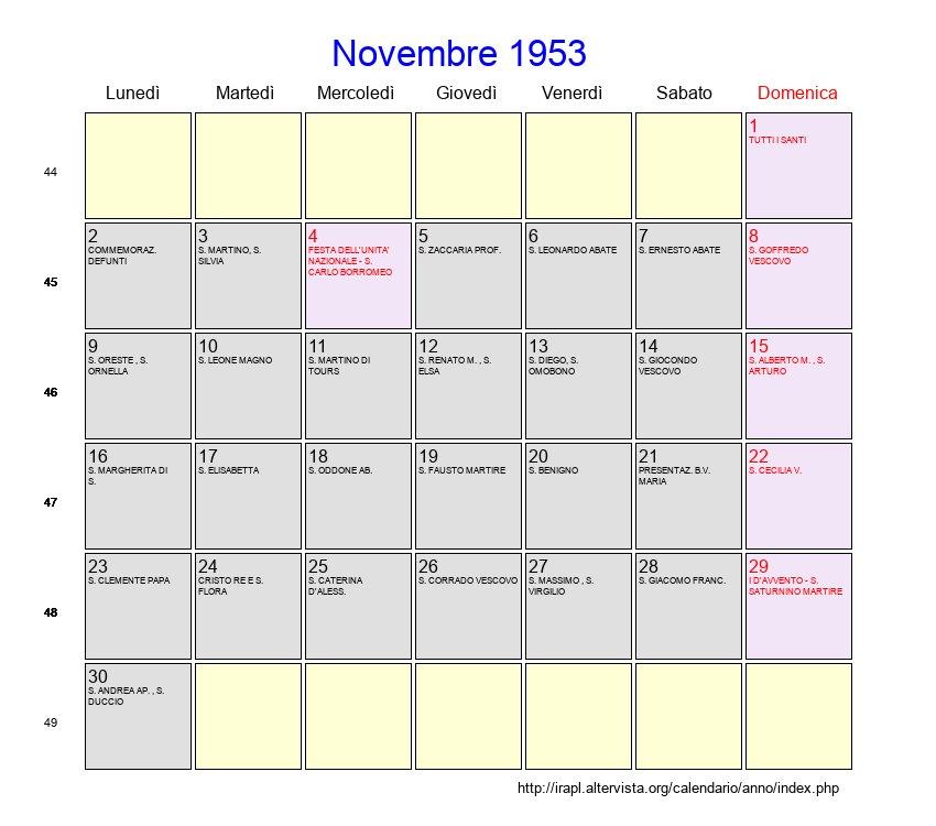 San Martino Giorno Calendario.Calendario Novembre 1953 Con Festivita E Fasi Lunari Avvento