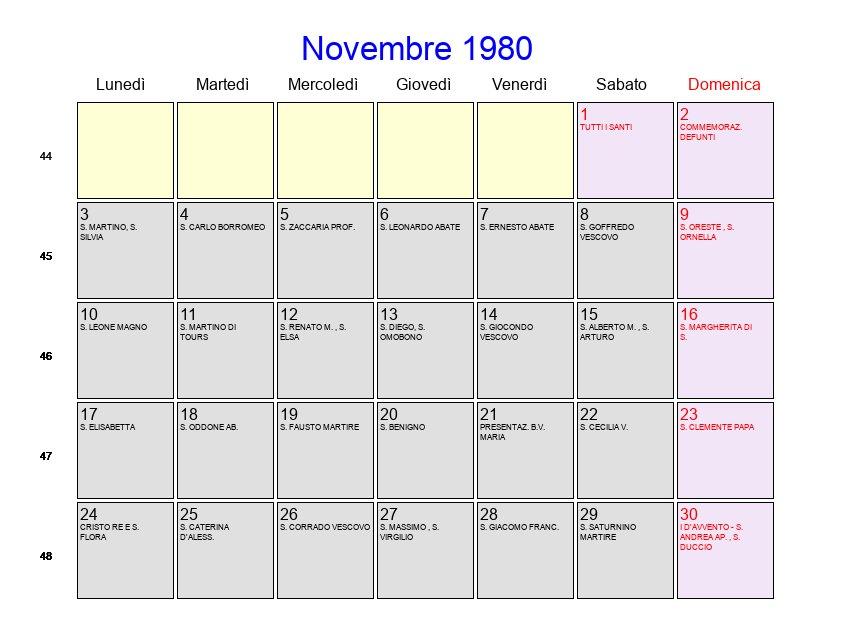 Calendario Anno 1980.Calendario Novembre 1980 Con Festivita E Fasi Lunari Avvento