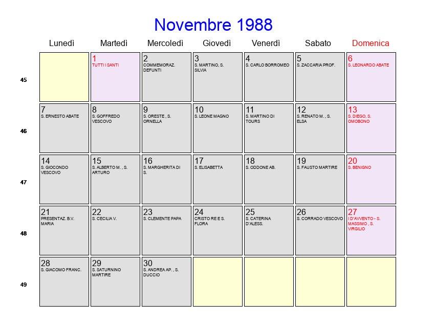 Calendario Lunare 1988.Calendario Novembre 1988 Con Festivita E Fasi Lunari Avvento