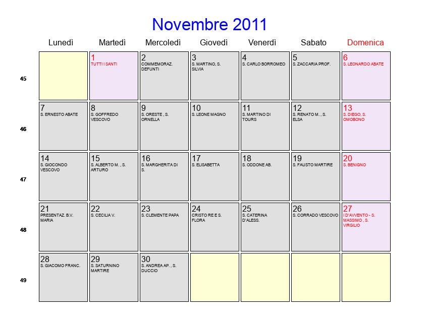 2011 Calendario.Calendario Novembre 2011 Con Festivita E Fasi Lunari Avvento