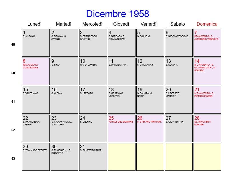 Calendario 1958.Calendario Dicembre 1958 Con Festivita E Fasi Lunari Avvento