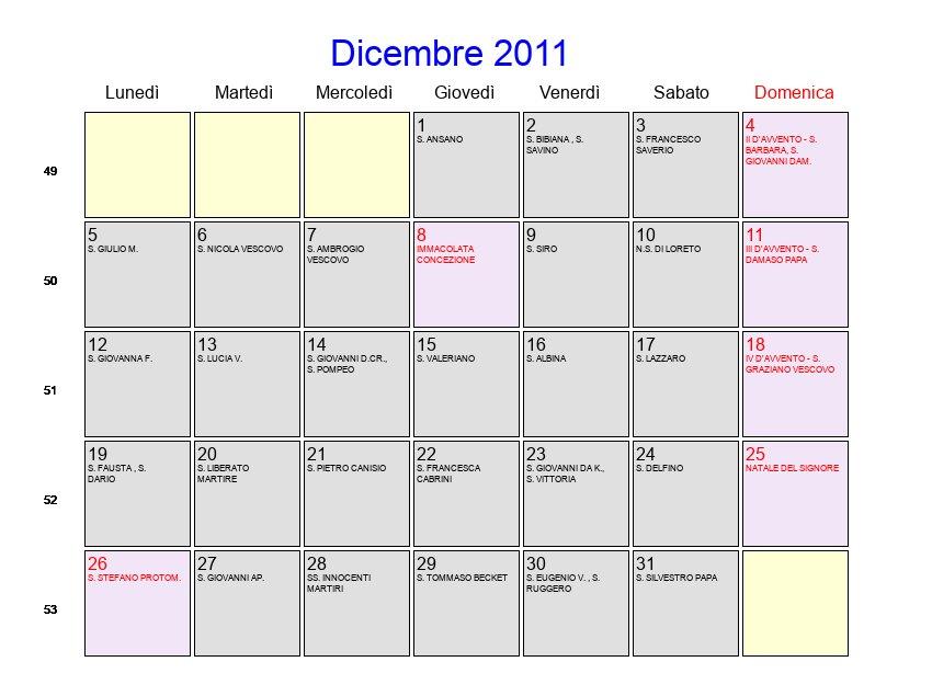 2011 Calendario.Calendario Dicembre 2011 Con Festivita E Fasi Lunari Avvento