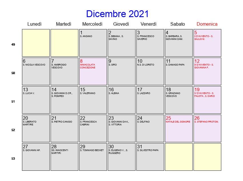 Calendario Dicembre 2021   Con festività e fasi lunari   Avvento