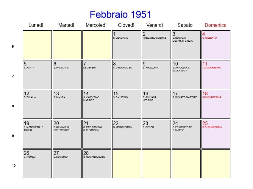 Calendario 1951.Calendario Febbraio 1951 Con Festivita E Fasi Lunari