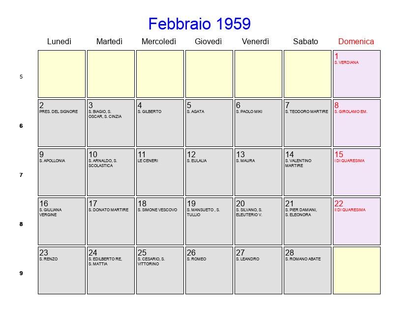 San Donato Calendario.Calendario Febbraio 1959 Con Festivita E Fasi Lunari