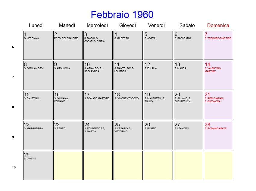 Calendario 1960.Calendario Febbraio 1960 Con Festivita E Fasi Lunari