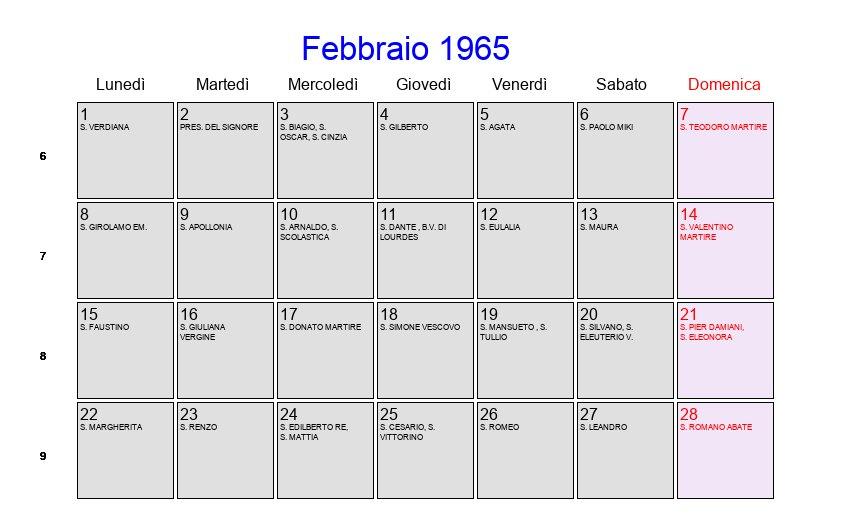 San Donato Calendario.Calendario Febbraio 1965 Con Festivita E Fasi Lunari