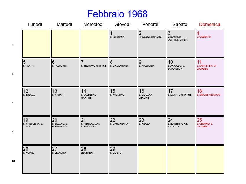 Calendario 1968.Calendario Febbraio 1968 Con Festivita E Fasi Lunari