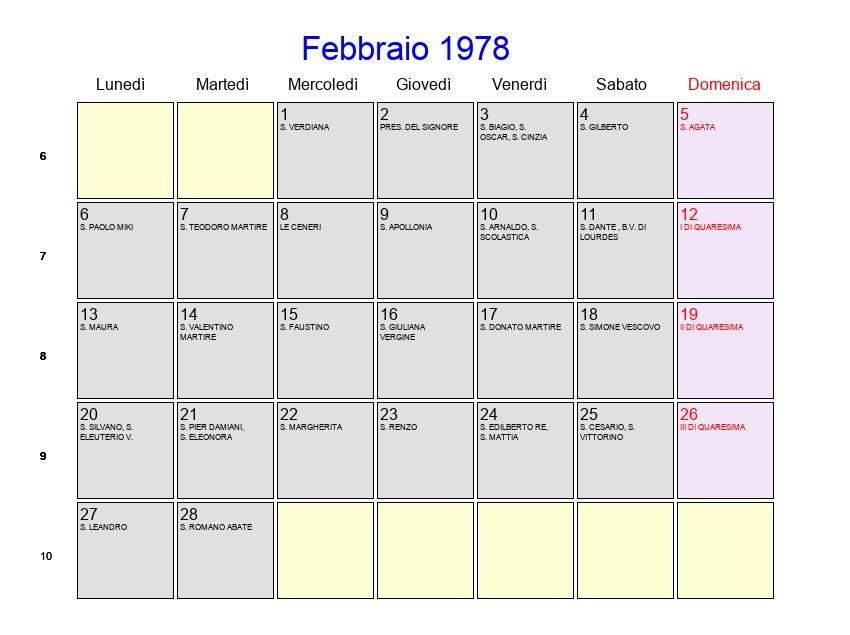 1978 Calendario.Calendario Febbraio 1978 Con Festivita E Fasi Lunari
