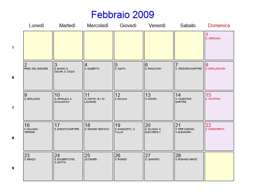 San Biagio Giorno Calendario.Calendario Febbraio 2009 Con Festivita E Fasi Lunari