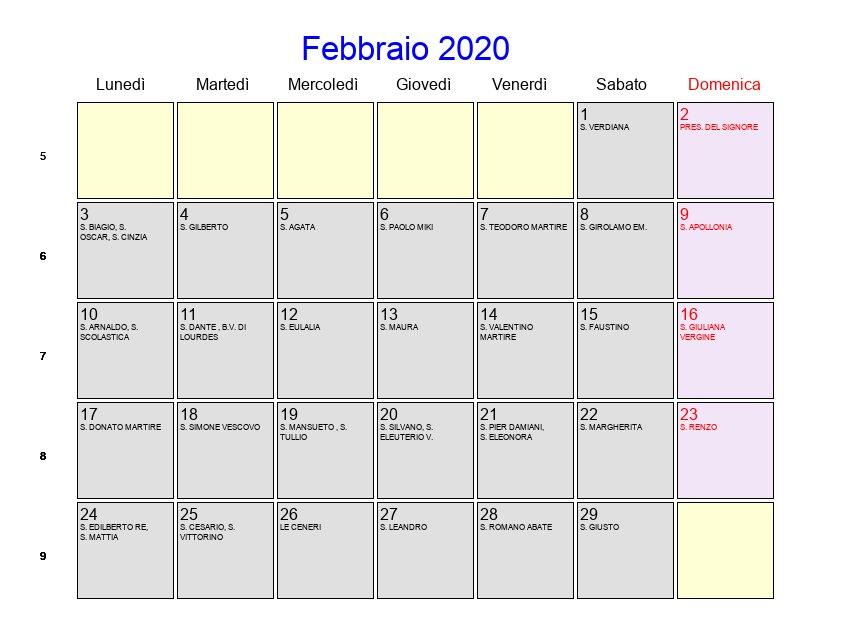 Calendario Gennaio 2020 Da Stampare.Calendario Febbraio 2020 Con Festivita E Fasi Lunari