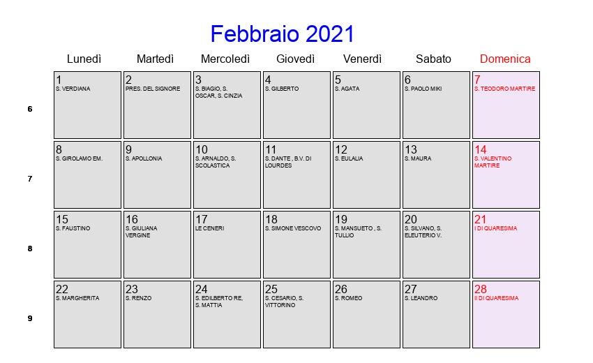 San Simone Calendario.Calendario Febbraio 2021 Con Festivita E Fasi Lunari