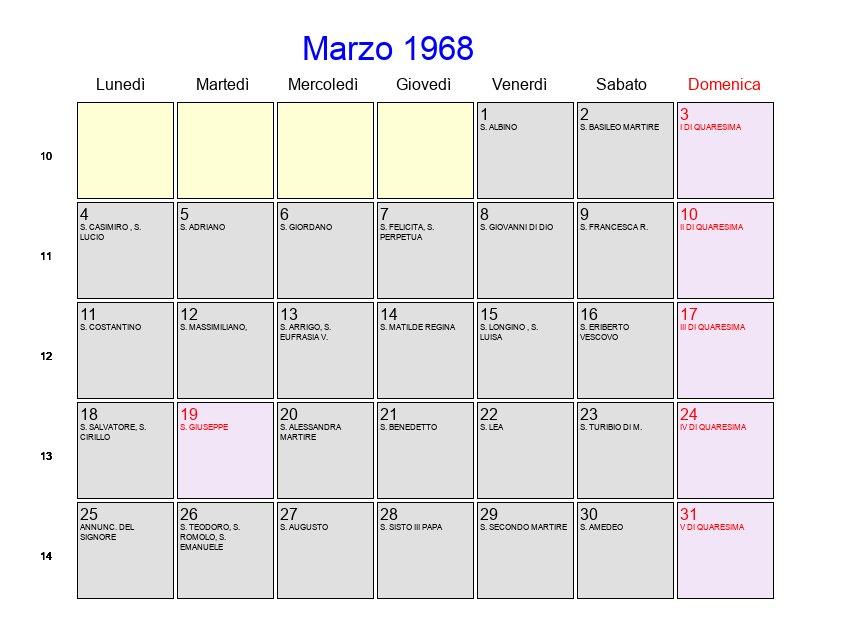Calendario 1968.Calendario Marzo 1968 Con Festivita E Fasi Lunari Quaresima