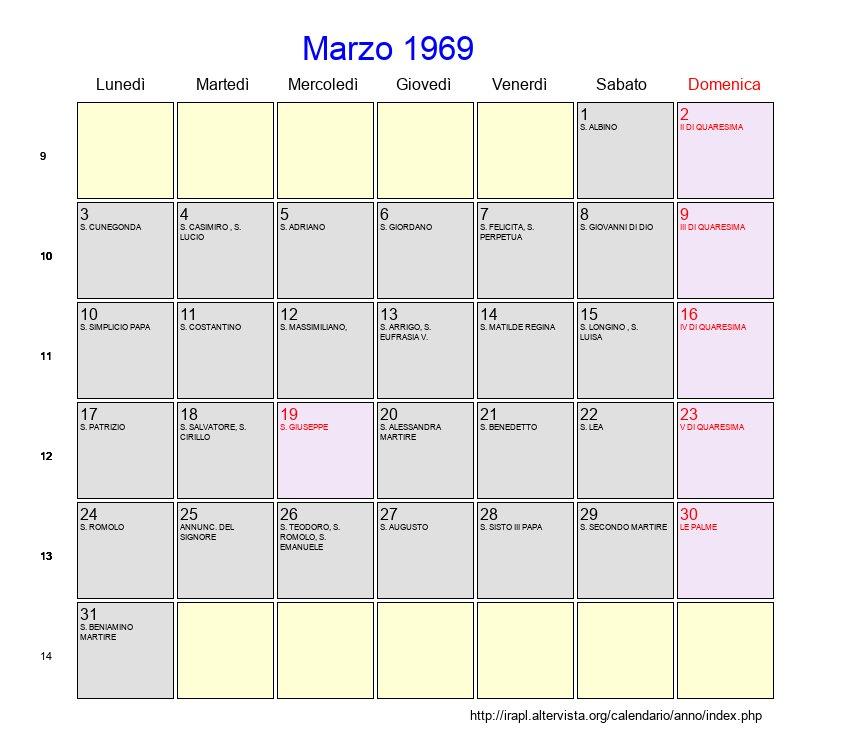 Calendario Di Marzo.Calendario Marzo 1969 Con Festivita E Fasi Lunari Quaresima