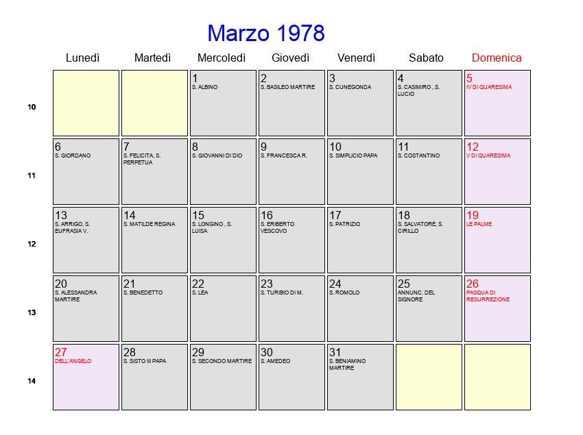 Calendario De 1978.Calendario Marzo 1978 Con Festivita E Fasi Lunari Pasqua