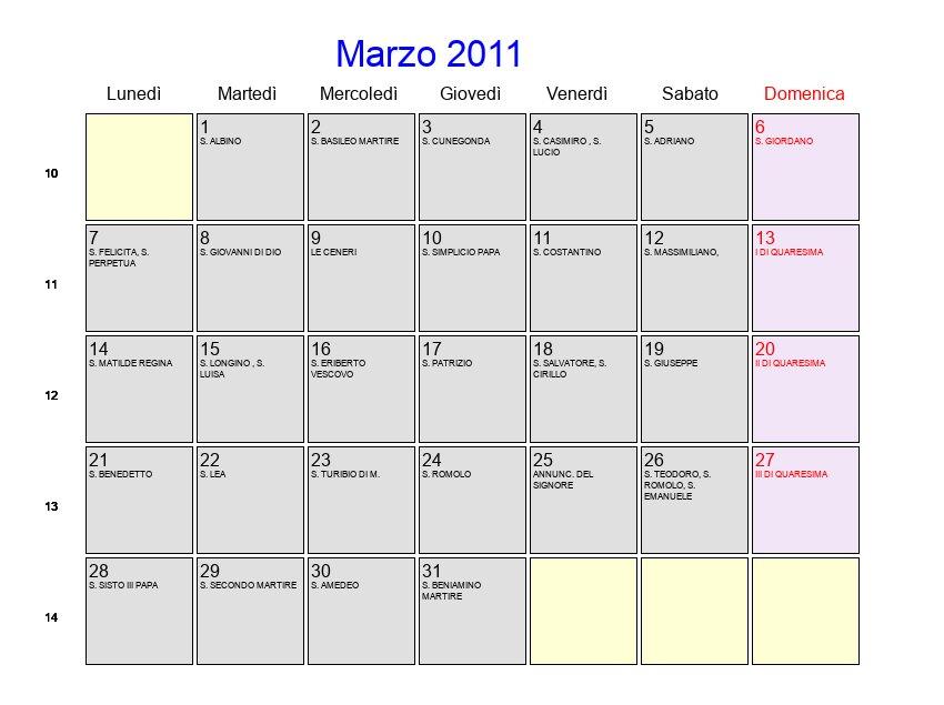 2011 Calendario.Calendario Marzo 2011 Con Festivita E Fasi Lunari Quaresima