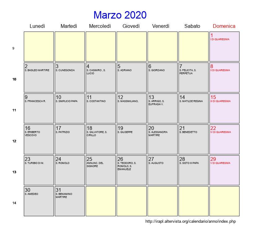Calendario Polimi 2020 20.Calendario Marzo 2020 Da Stampare Calendario 2020
