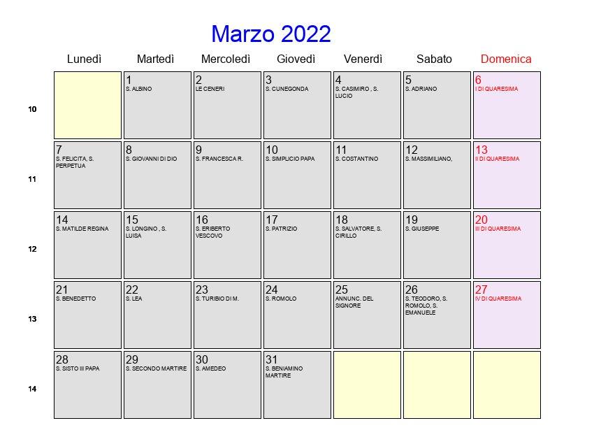 foto de Calendario Marzo 2022 Con festività e fasi lunari Quaresima