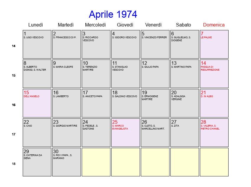 Calendario 1974.Calendario Aprile 1974 Con Festivita E Fasi Lunari Pasqua