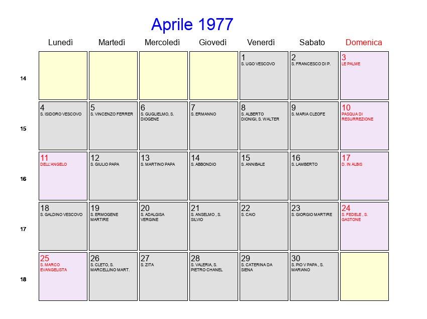Calendario Del 1977.Calendario Aprile 1977 Con Festivita E Fasi Lunari Pasqua