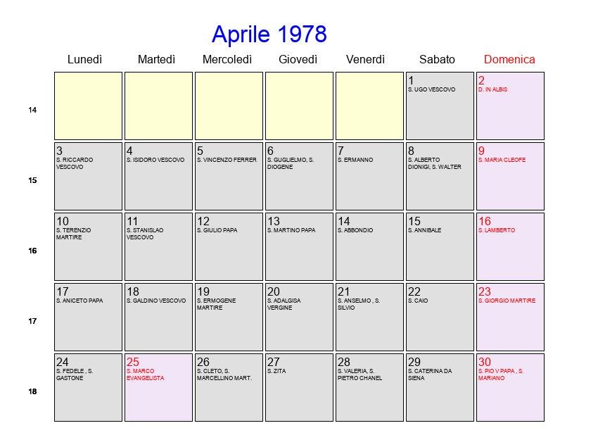 Calendario Lunare 1978.Calendario Aprile 1978 Con Festivita E Fasi Lunari