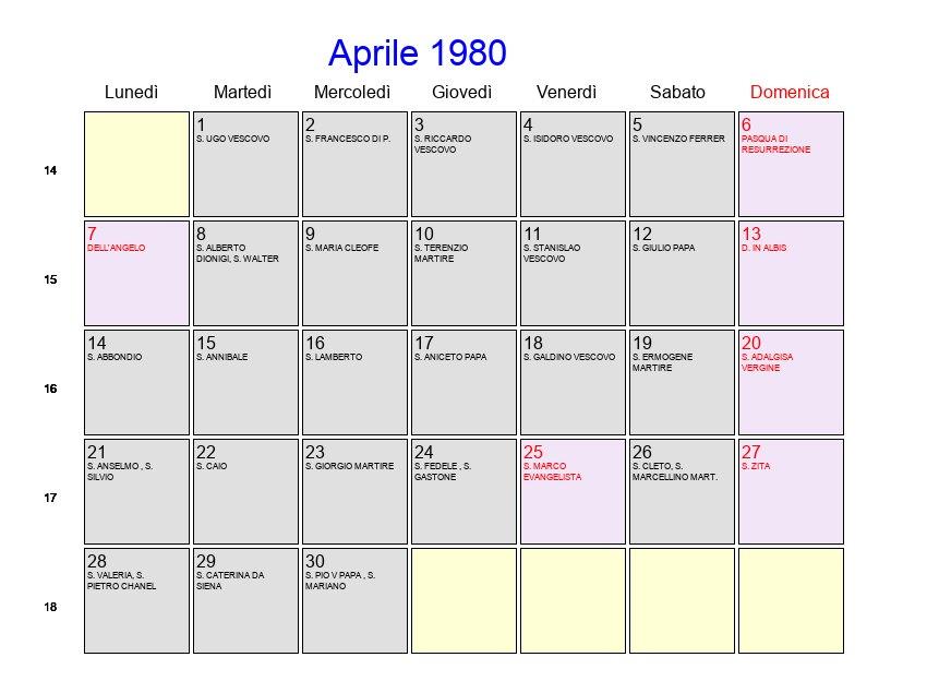 Calendario Anno 1980.Calendario Aprile 1980 Con Festivita E Fasi Lunari Pasqua