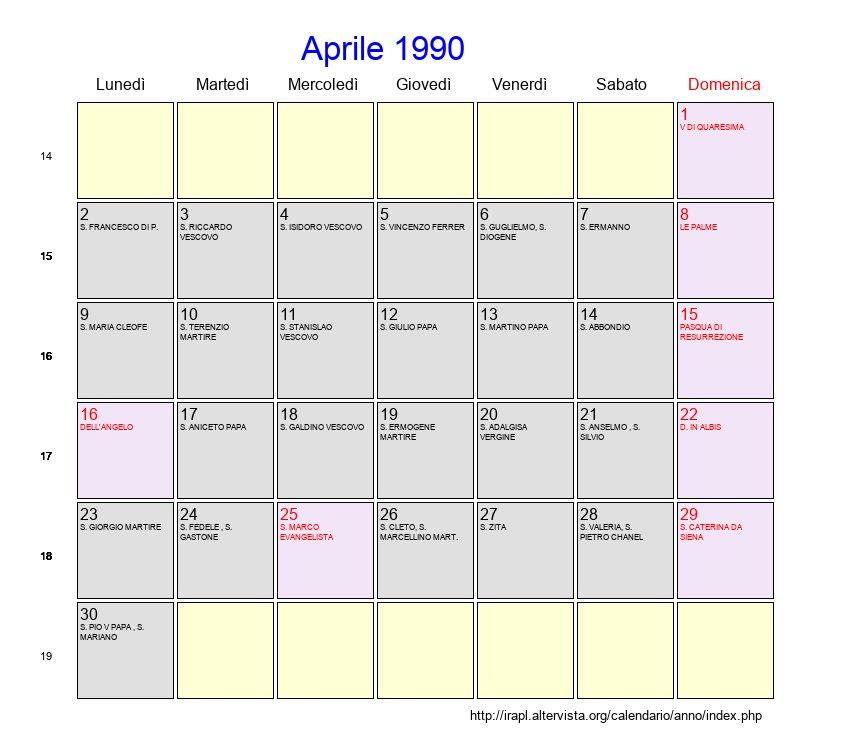 1990 Calendario.Calendario Aprile 1990 Con Festivita E Fasi Lunari Pasqua