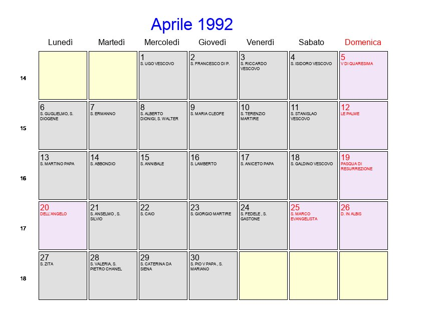 Calendario Anno 1992.Calendario Aprile 1992 Con Festivita E Fasi Lunari Pasqua