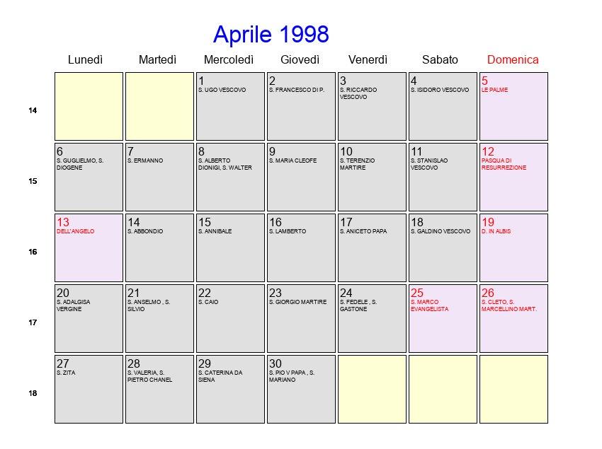 1998 Calendario.Calendario Aprile 1998 Con Festivita E Fasi Lunari Pasqua