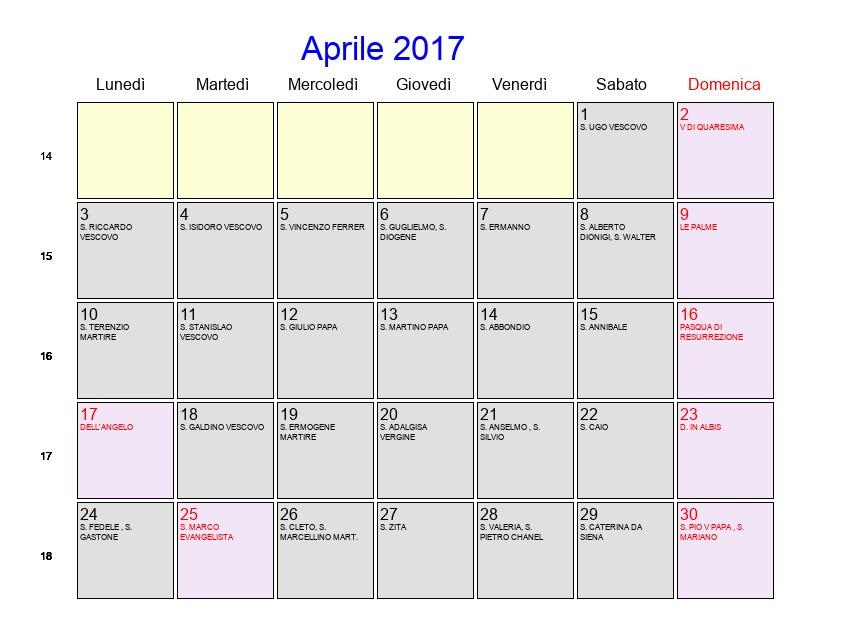 Calendario Anno 2017.Calendario Aprile 2017 Con Festivita E Fasi Lunari Pasqua