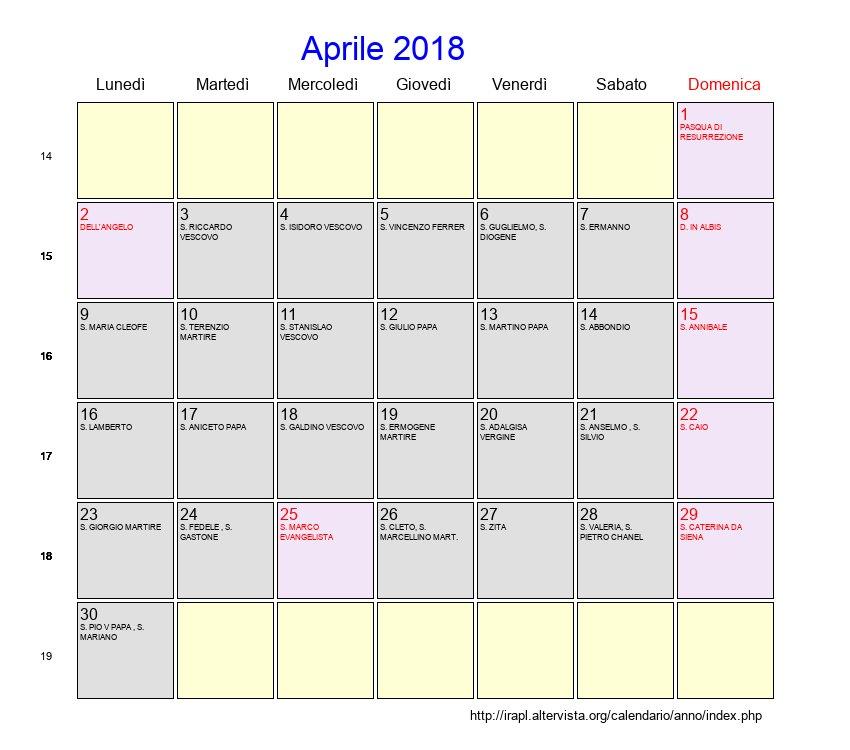 Calendario Aprile 2018 Con Festivita.Calendario Aprile 2018 Con Festivita E Fasi Lunari Pasqua