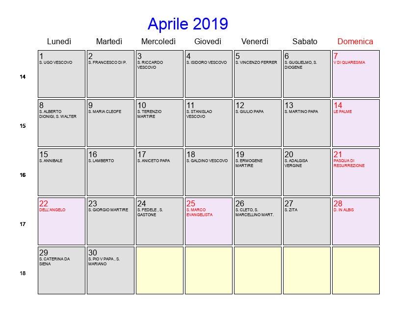 Calendario Con Festivita 2019.Calendario Aprile 2019 Con Festivita E Fasi Lunari Pasqua