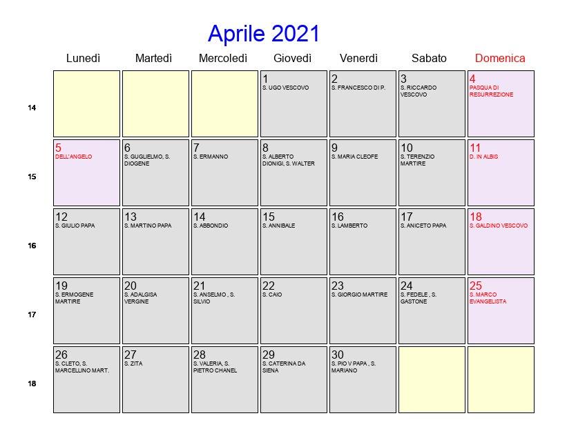 Calendario Aprile 2021   Con festività e fasi lunari   Pasqua