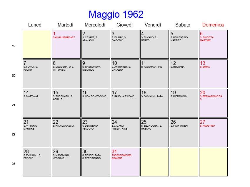 Santa Rita Giorno Calendario.Calendario Maggio 1962 Con Festivita E Fasi Lunari