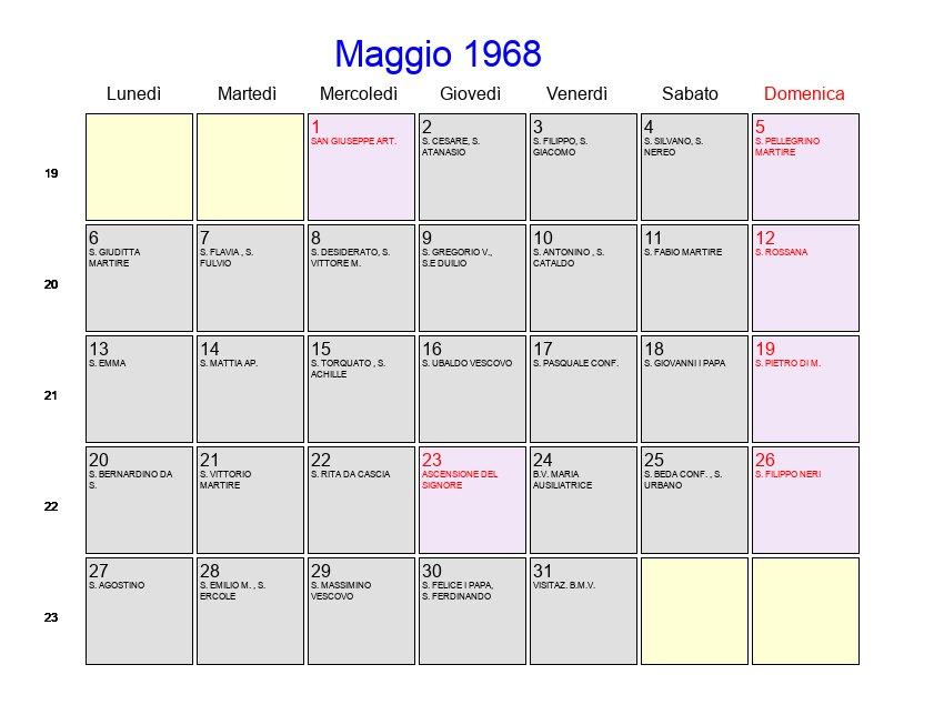 Calendario 1968.Calendario Maggio 1968 Con Festivita E Fasi Lunari