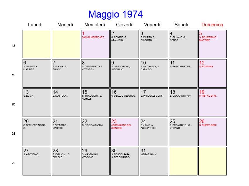 Calendario Anno 1974.Calendario Maggio 1974 Con Festivita E Fasi Lunari