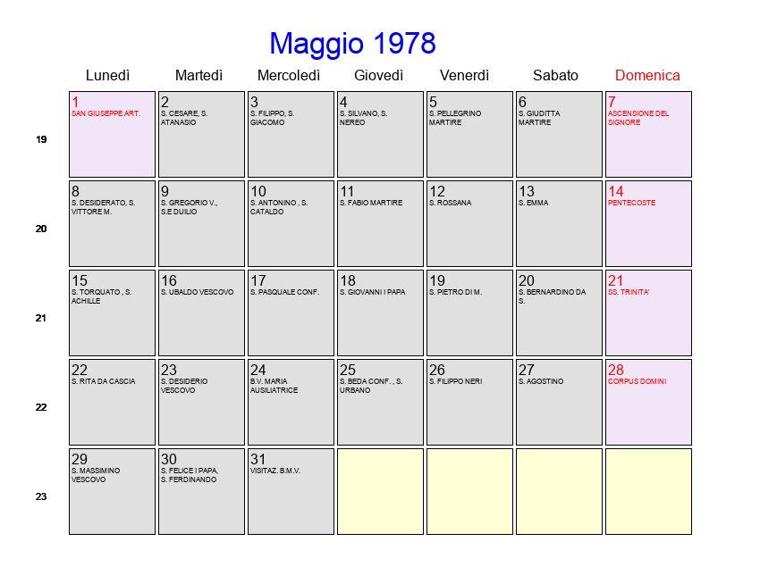 1978 Calendario.Calendario Maggio 1978 Con Festivita E Fasi Lunari